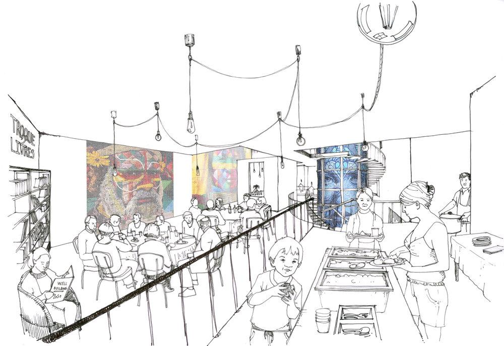 Slow Building en intérieure – Cuisine commune dans la salle principale
