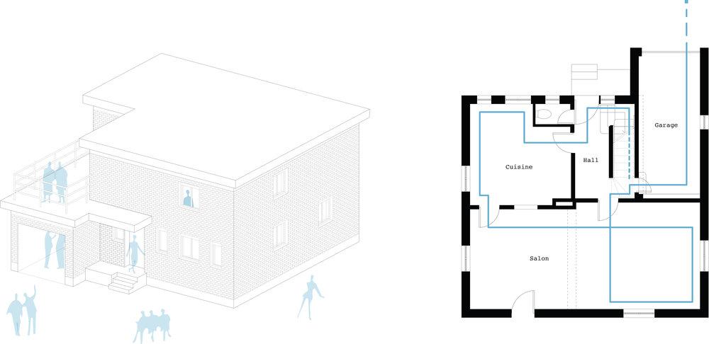 Axonométrie et plan de la maison