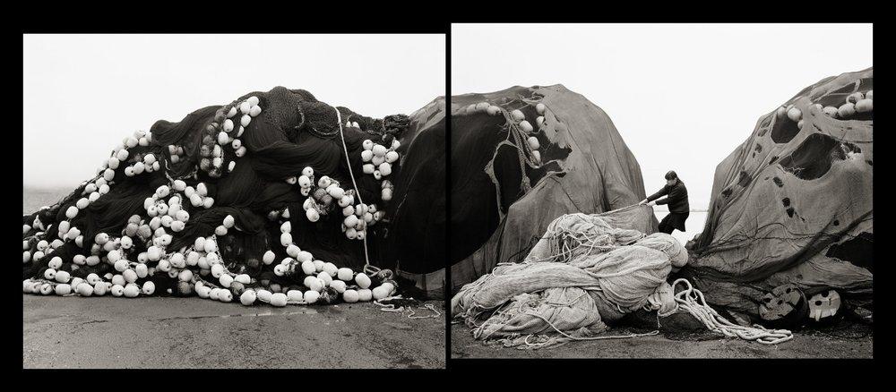 Agnieszka Sosnowska, Self Portrait, Pulling Nets, Neskaupsstaður, Iceland, 2014, silver gelatin, 19 x 41