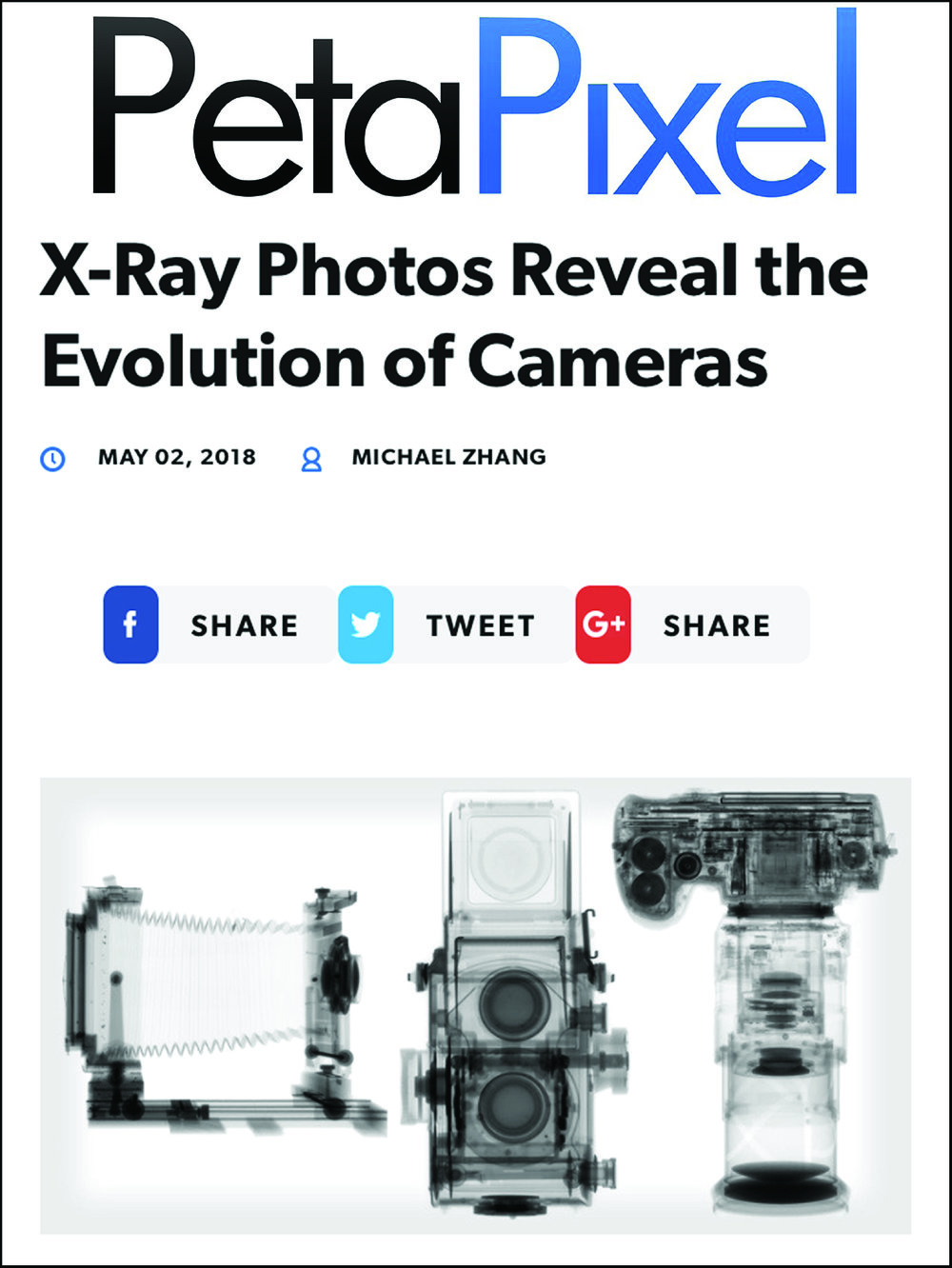 X-ray Photos Reveal the Evolution of Cameras  May 2, 2018