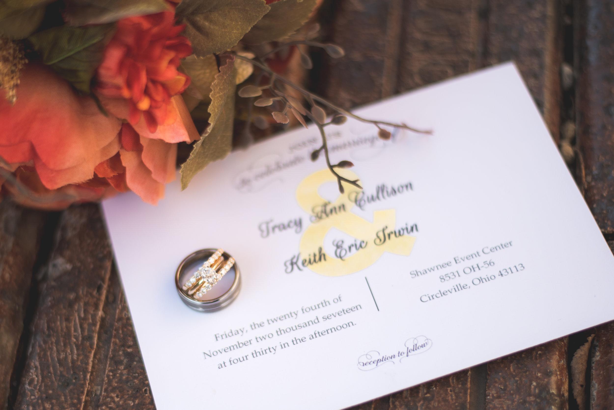 Tracy keith wedding at shawnee event center circleville ohio wedding invitation columbus ohio photographer flowers rings details shot monicamarmolfo Gallery