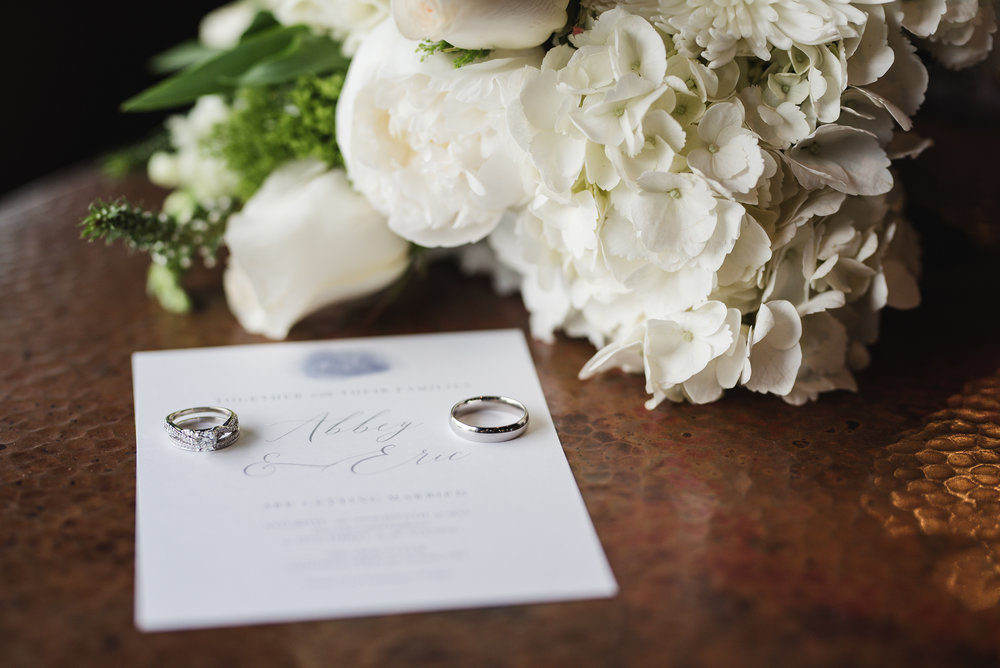 Wedding invitation with bouquet and wedding rings