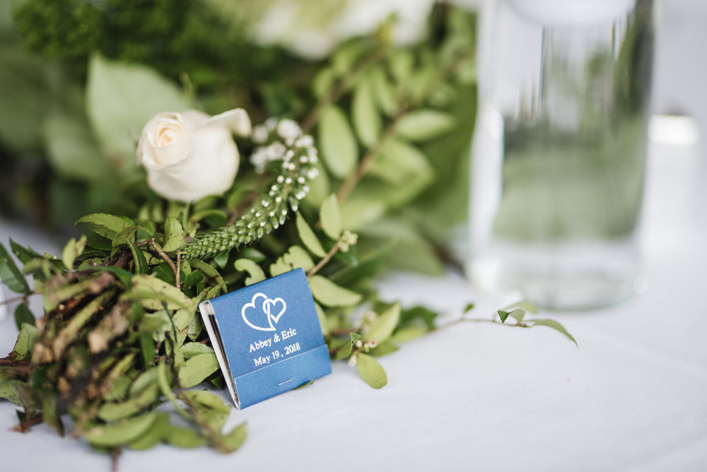 matchbook wedding favor at Trout Club
