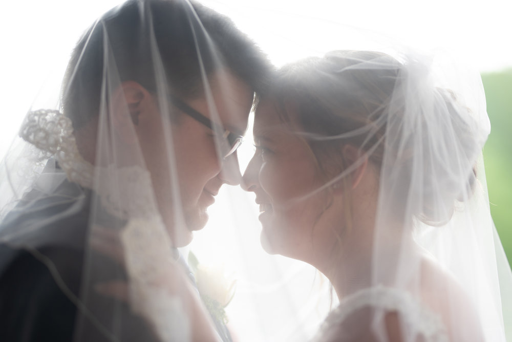 bride and groom under veil at wedding