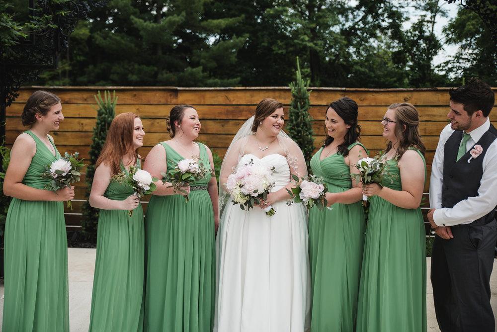 bridesmaids at wedding in Columbus ohio