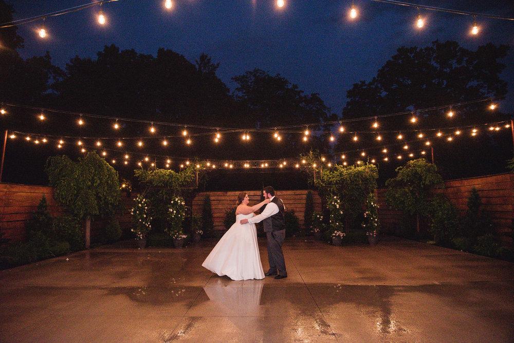 nighttime portrait of bride and groom la navona columbus ohio