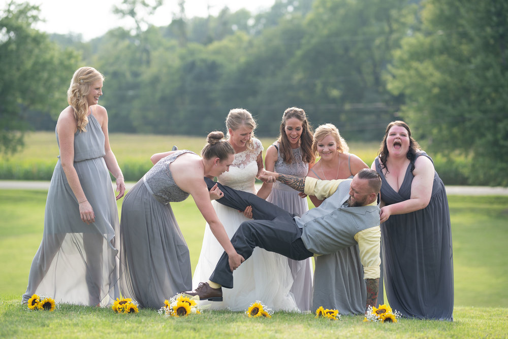 fun bridal party lancaster ohio wedding photographer