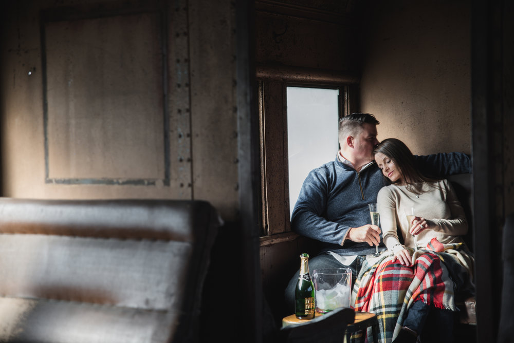 train engagement photos