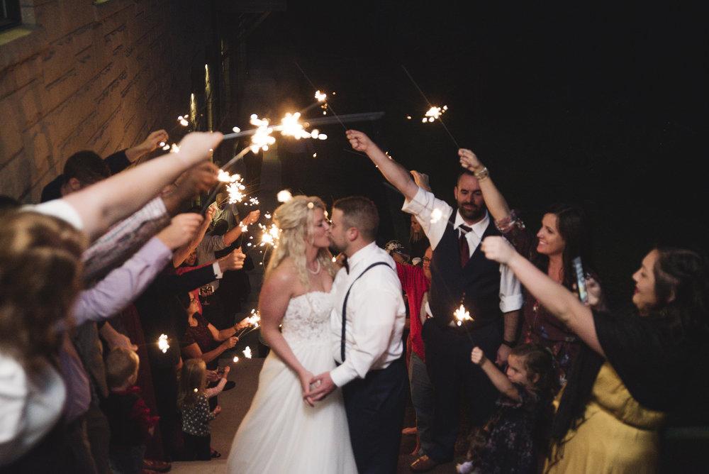 wedding sparkler exit hocking hills lake hope lodge photographer