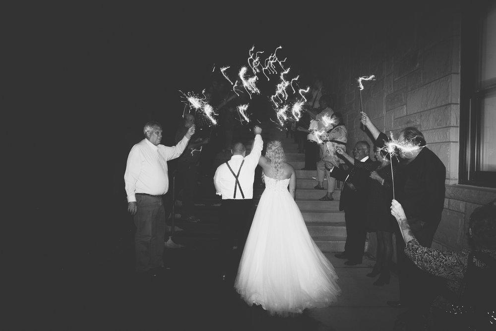 sparkler exit hocking hills wedding