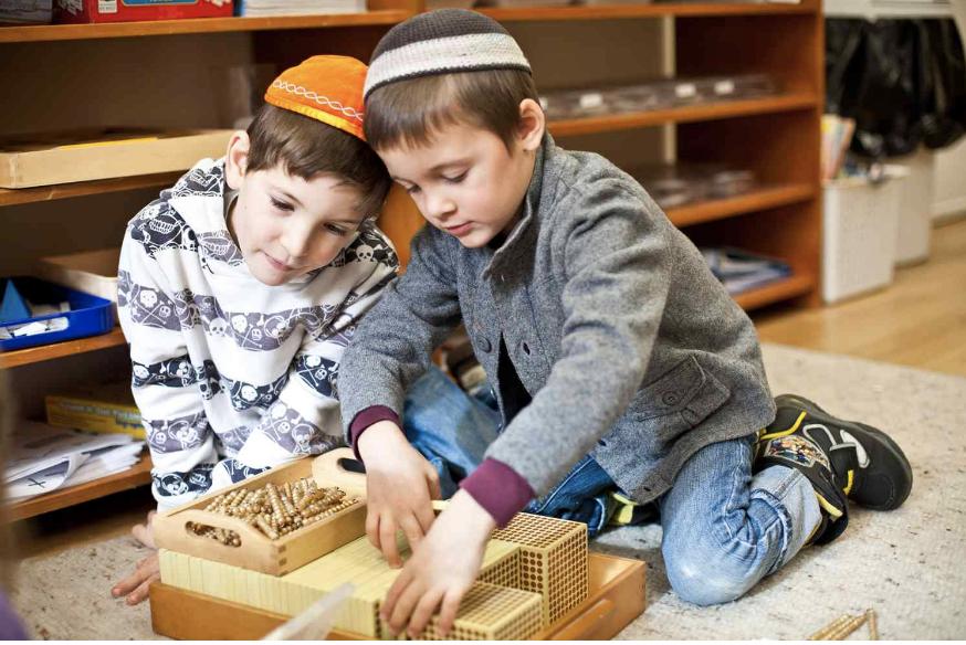 Students in Luria Academy, a Jewish Montessori school in Brooklyn, NY