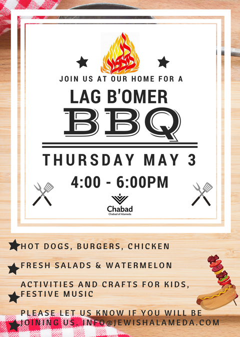 Lag B'Omer  - The smell of the Lag B'omer BBQ is in the air... and you are invited to our home for a fun day out!Come celebrate this joyous holiday and meet some new friends.Please RSVP below: