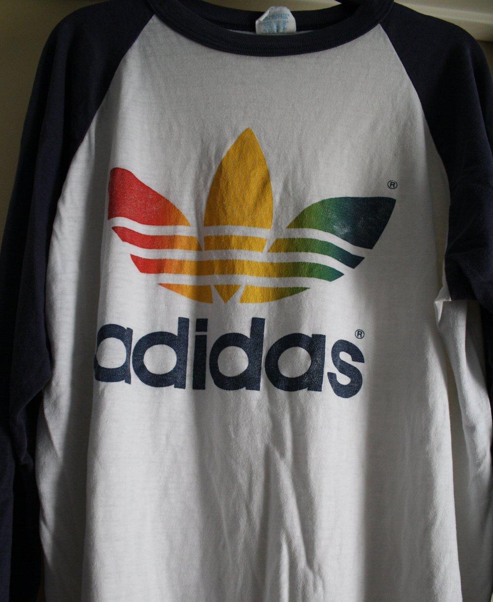 Adidas baseball sleeve vintage tee