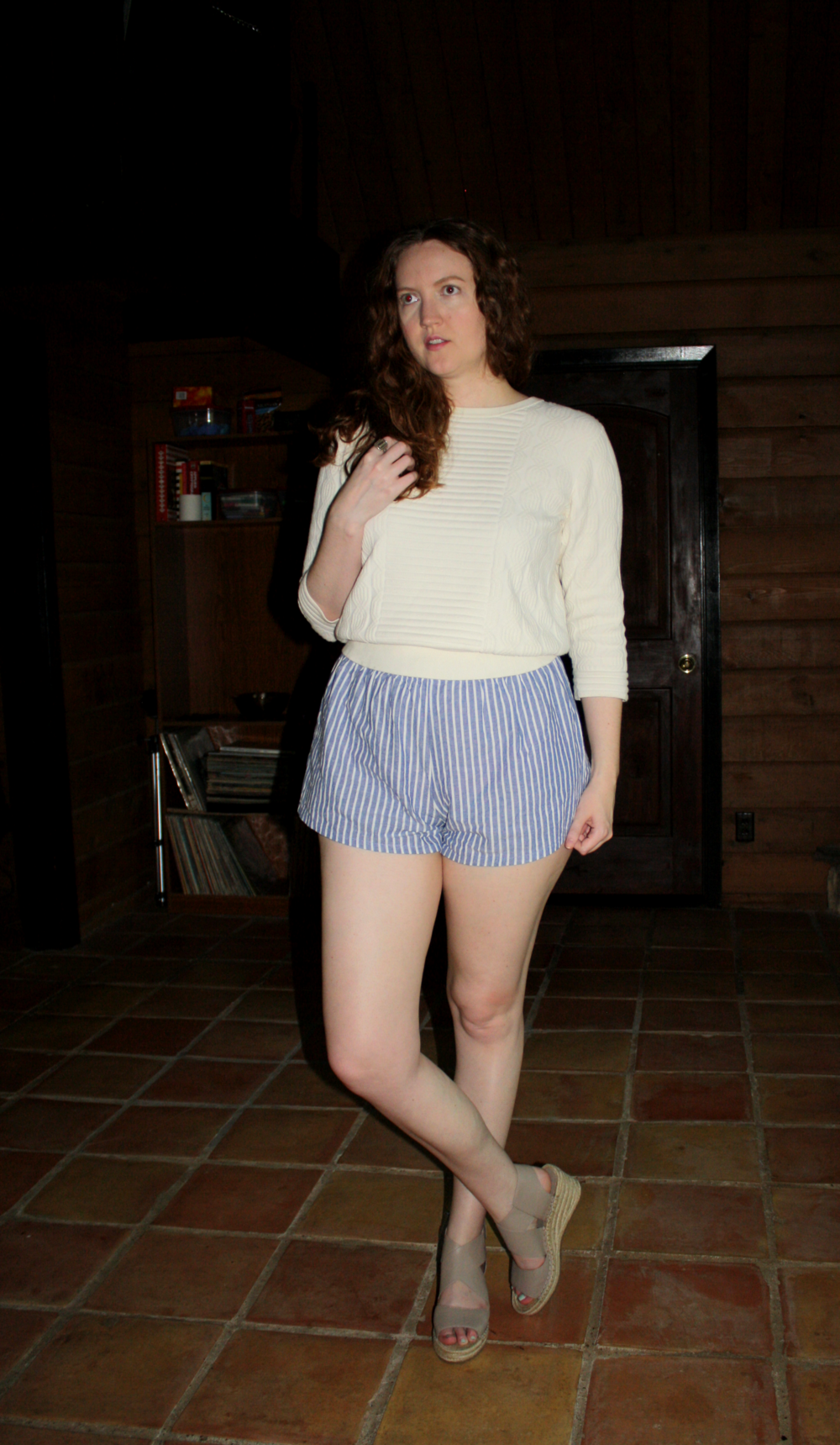 Marc by Marc Jacobs sweater + Reformation shorts + Elieen Fisher wedges