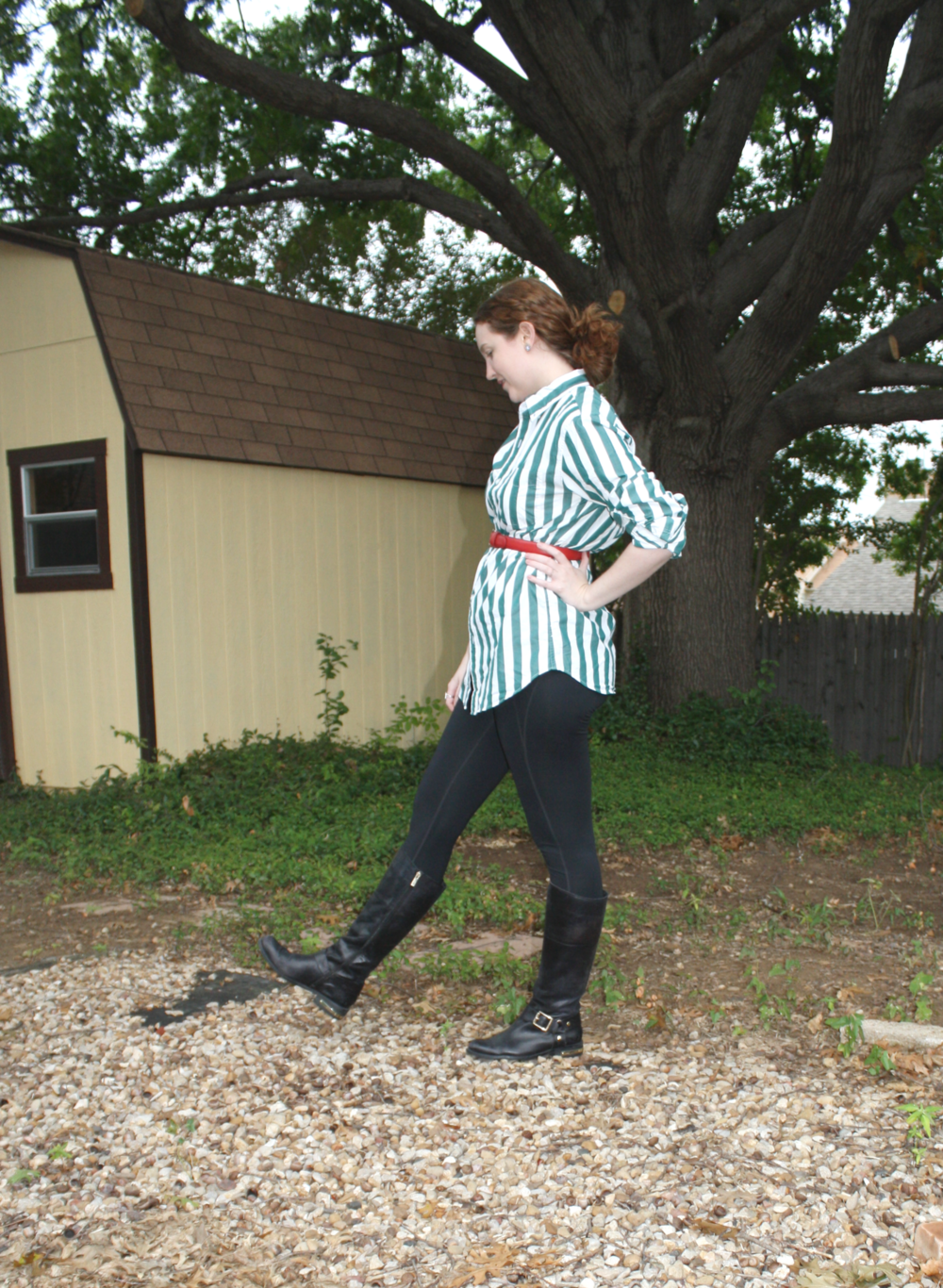 J. Crew men's green striped button down shirt + Girlfriend Collective black leggings, + Vince Camuto boots + Vintage red belt