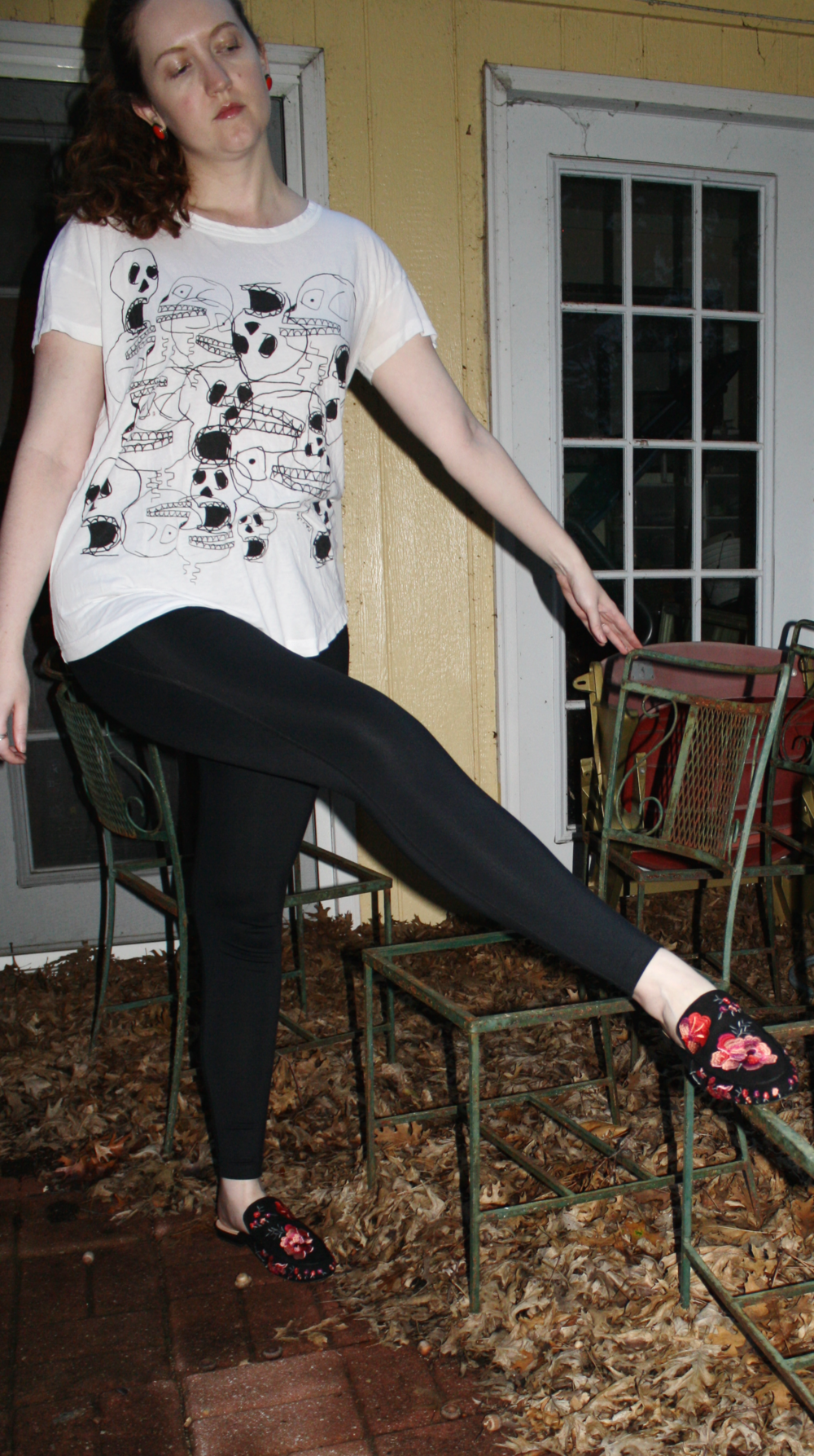 Marc by Marc Jacobs shirt + Girlfriend Collective black leggings + INC X Anna Sui mules
