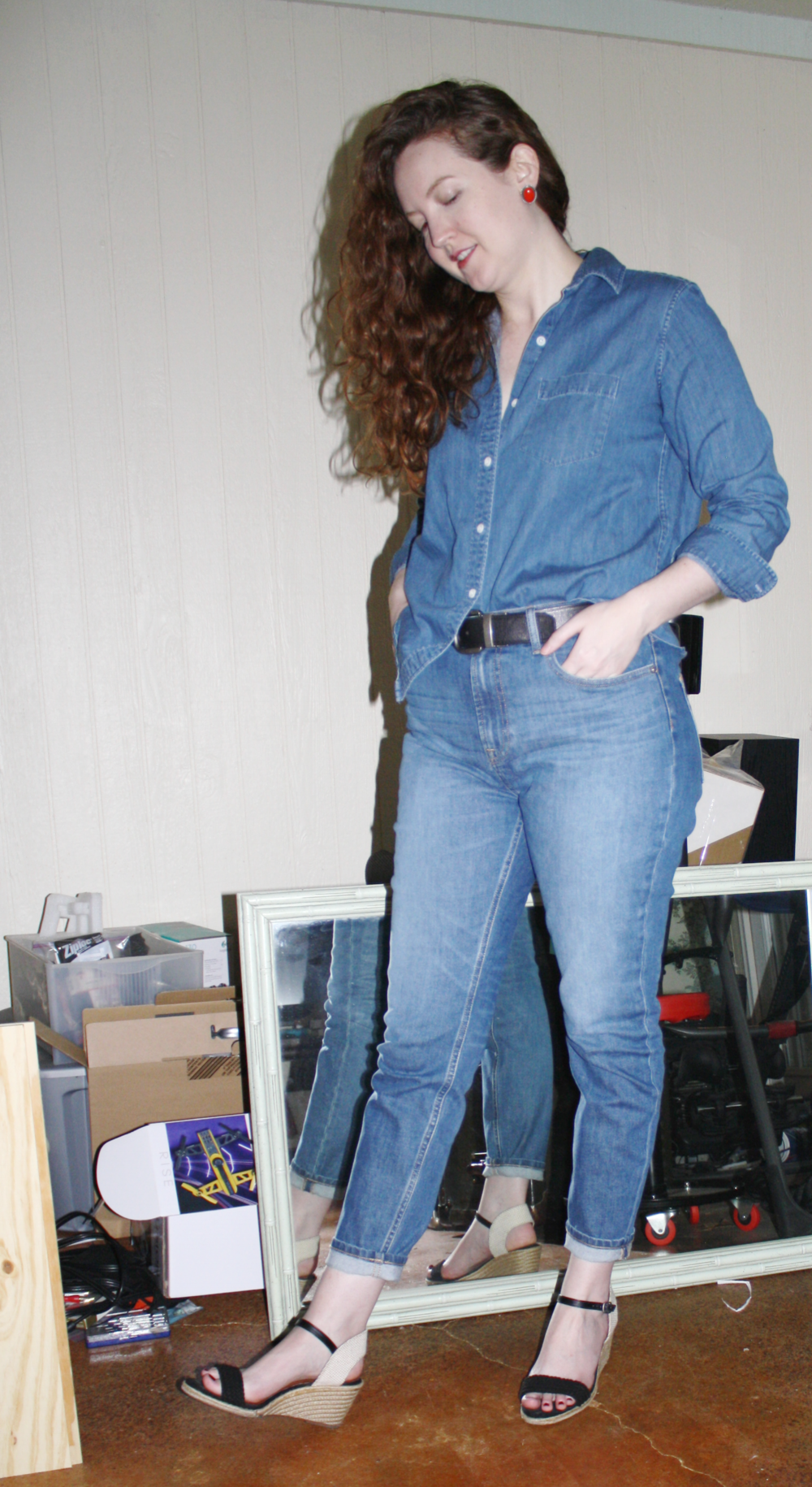 Canadian tux in the hardest denim shade to match.