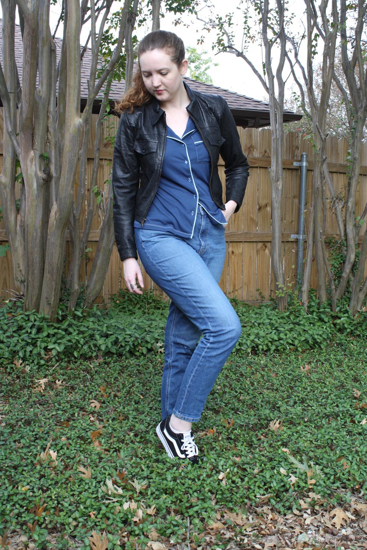Reformation Leather Jacket + Pajama Top + Everlane denim + Vans