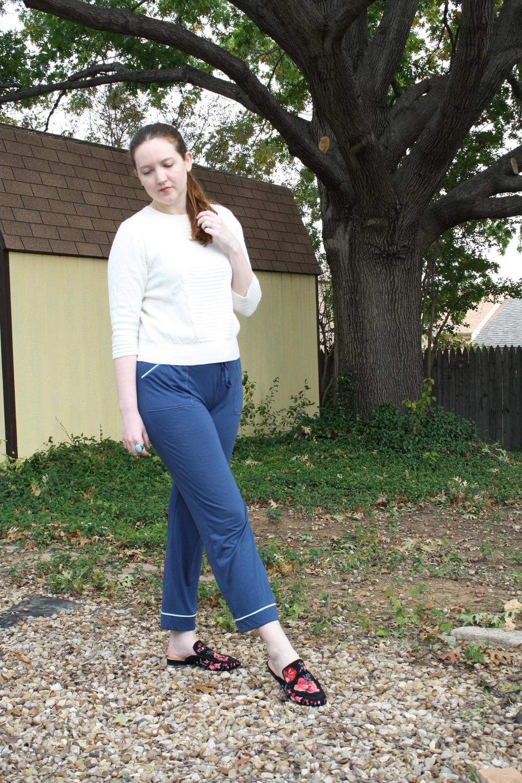 Marc Jacobs Sweater + Pajama pants + Anna Sui X INC mules