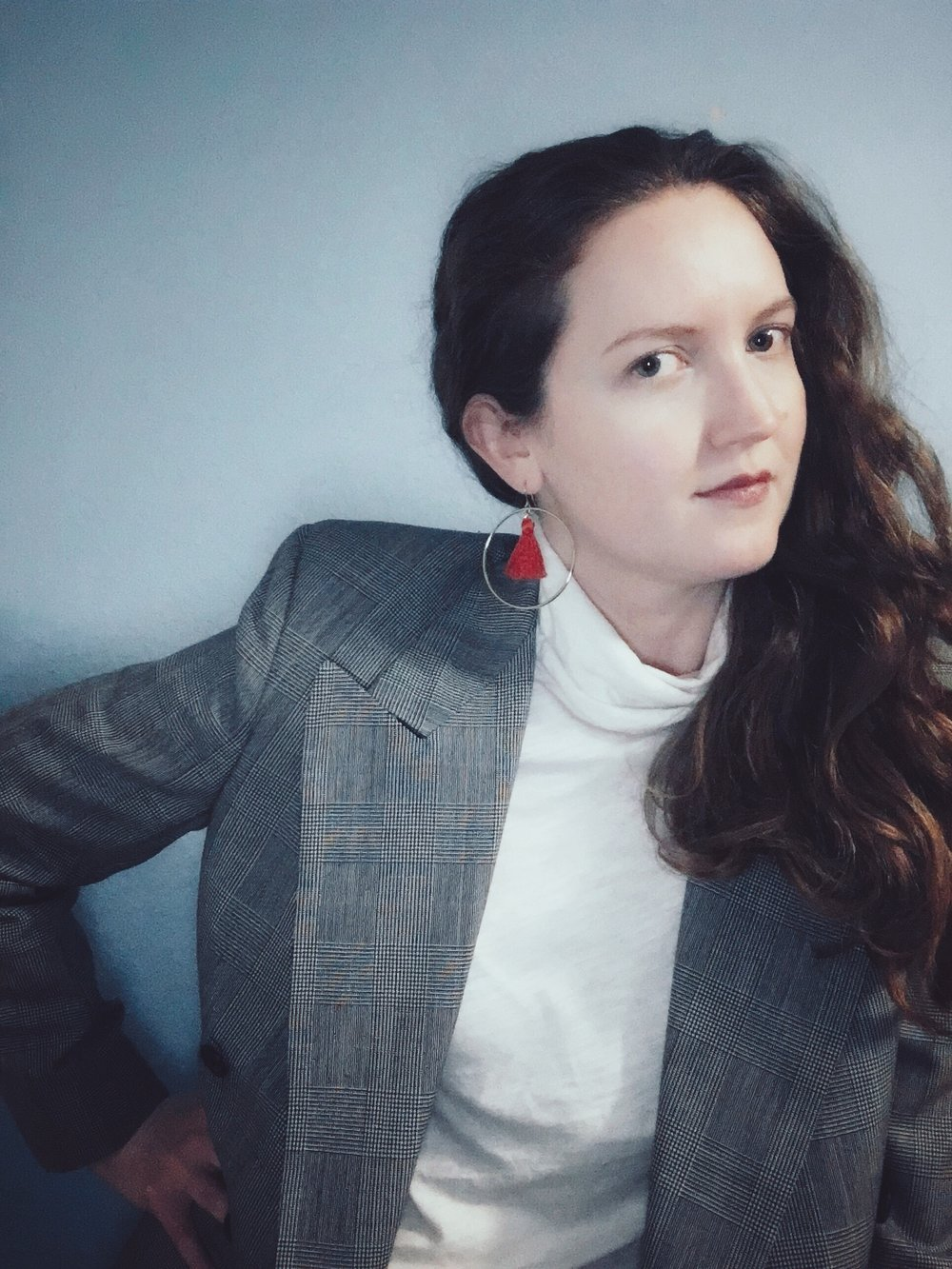 Vintage Brooks Brothers Blazer + Madewell White Turtleneck + J Crew Red Tassel Earrings