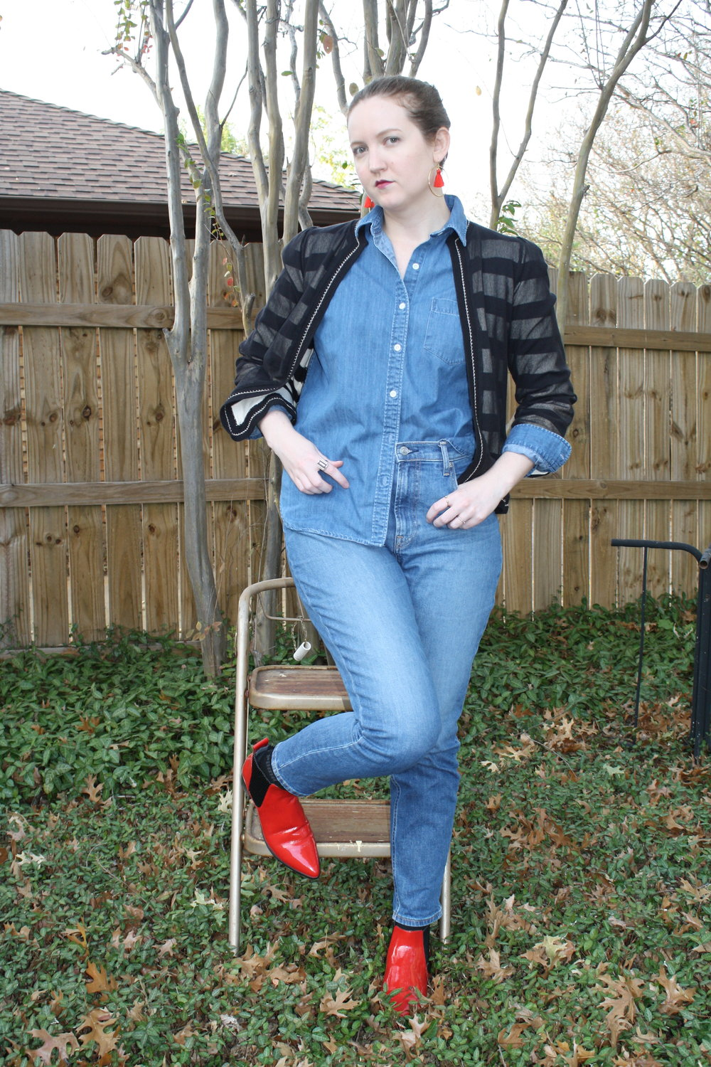 Marc by Marc Jacobs Sweater + Grana Denim Shirt + Everlane Denim + Dolce Vita Red Boots