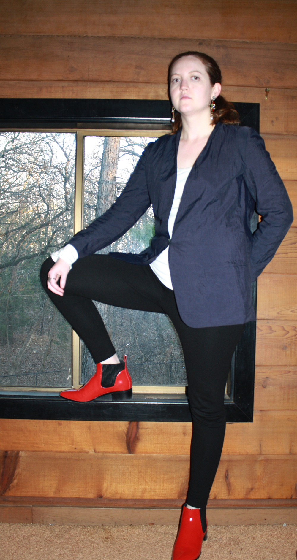 Vintage Navy Blazer + Free People White Top + Vince Camuto Leggings + Dolce Vita Red Boots
