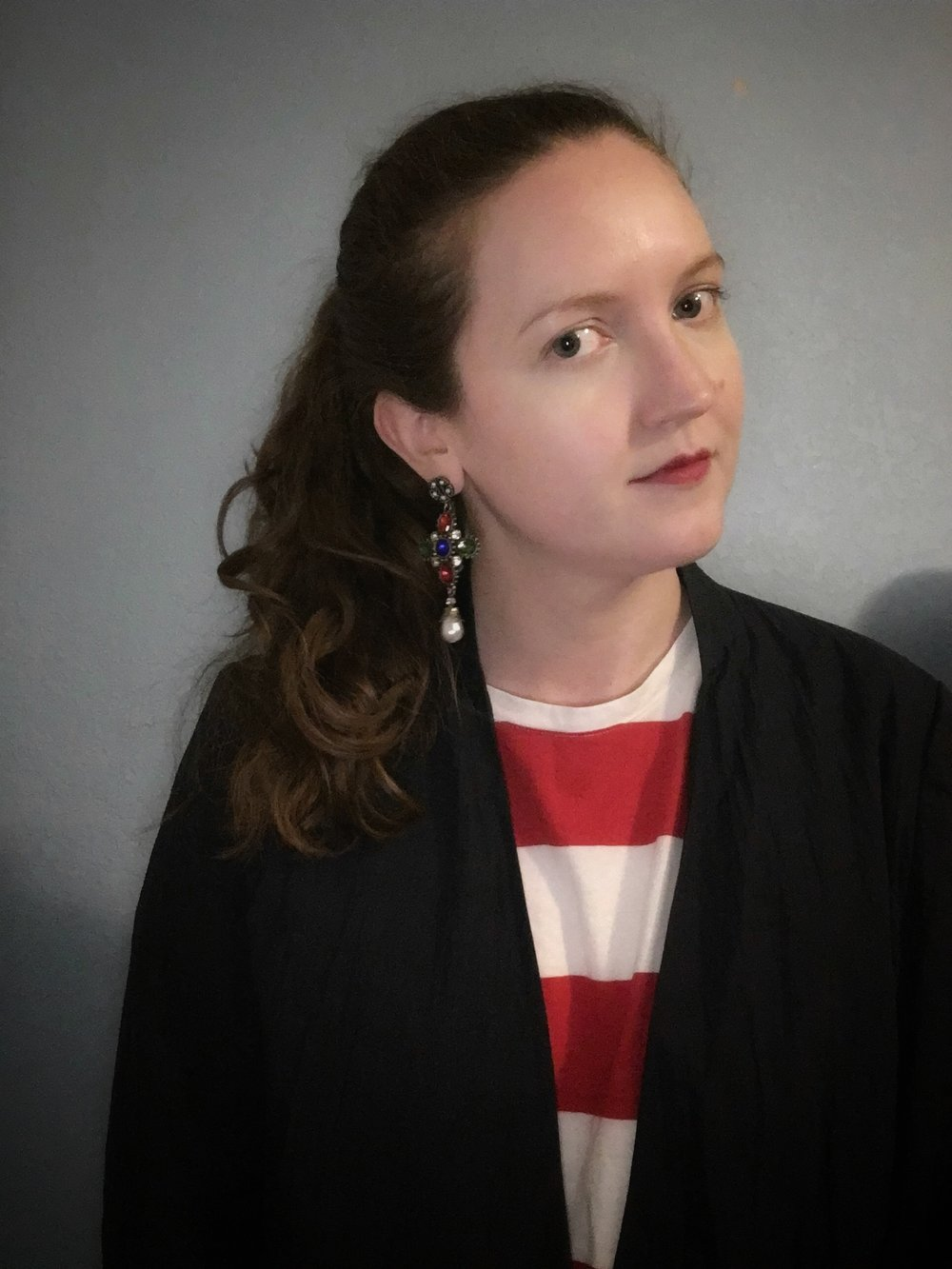 Stripes for spring navy blazer Everlane red striped tee shirt dress Shashi earrings from Shopbop.jpg