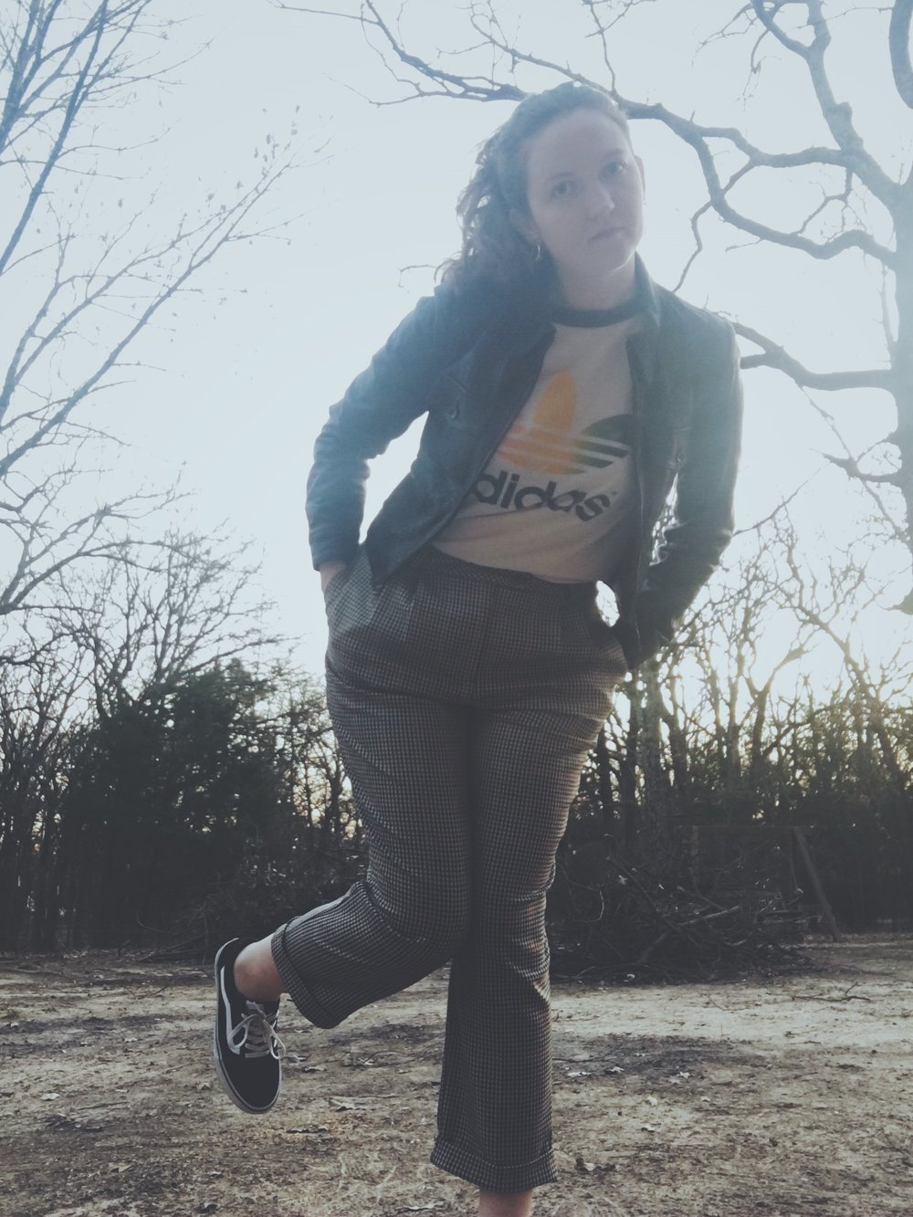 Vintage Adidas Tee + Topshop Trousers + Vans + Reformation Leather Jacket