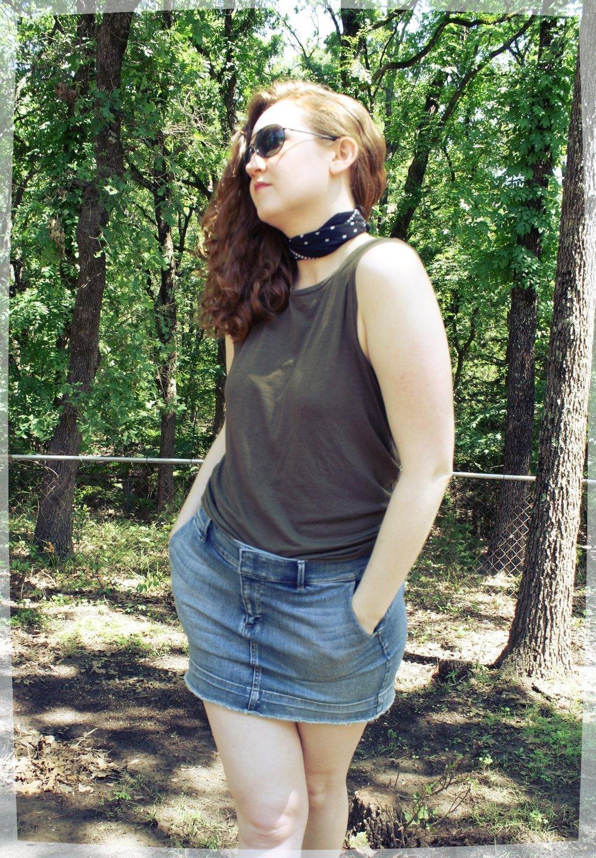 Scarves for Spring from Madewell Grana muscle tank denim skirt Black Madewell silk scarf.JPG