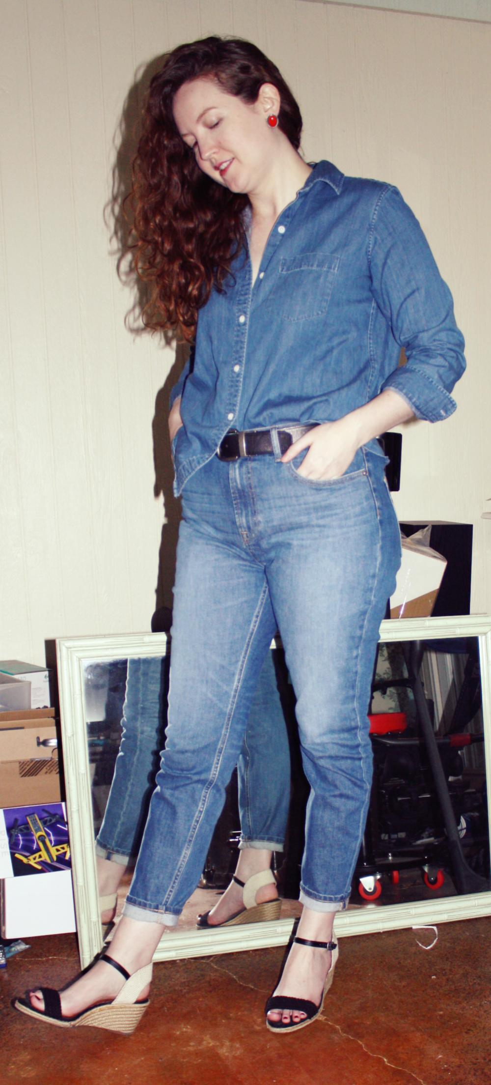 Grana Denim Shirt + Everlane High Rise Skinny +Wedges