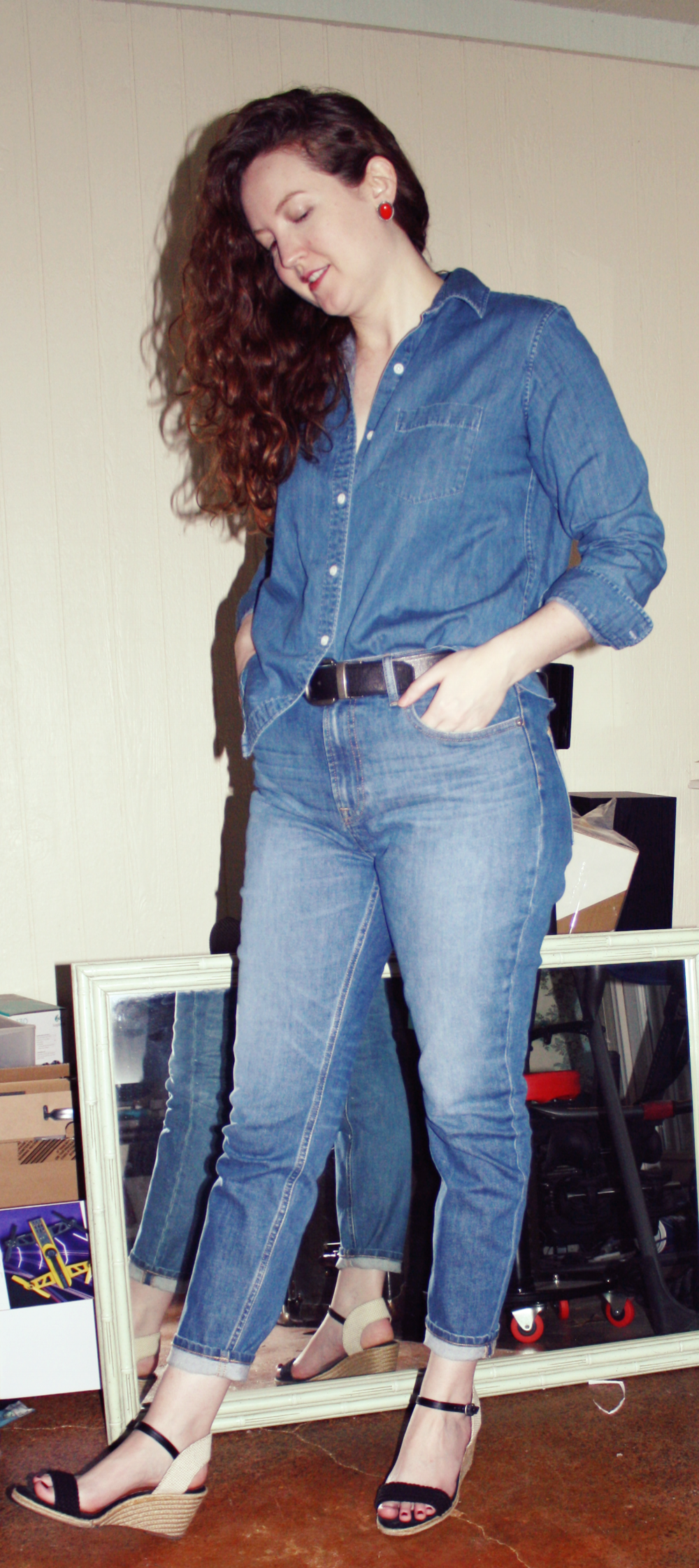 Grana Denim Shirt + Everlane Denim + Wedges