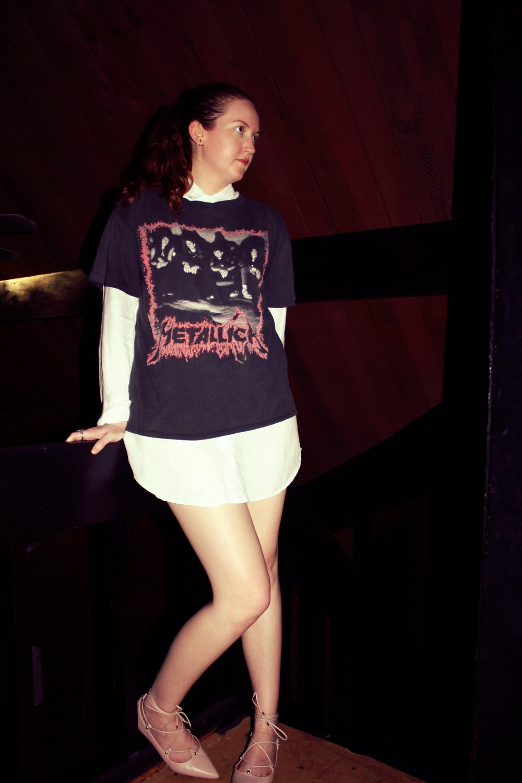 Metallica Vintage Tee + Reformation White Button Down Dress + Halogen Pink Flats