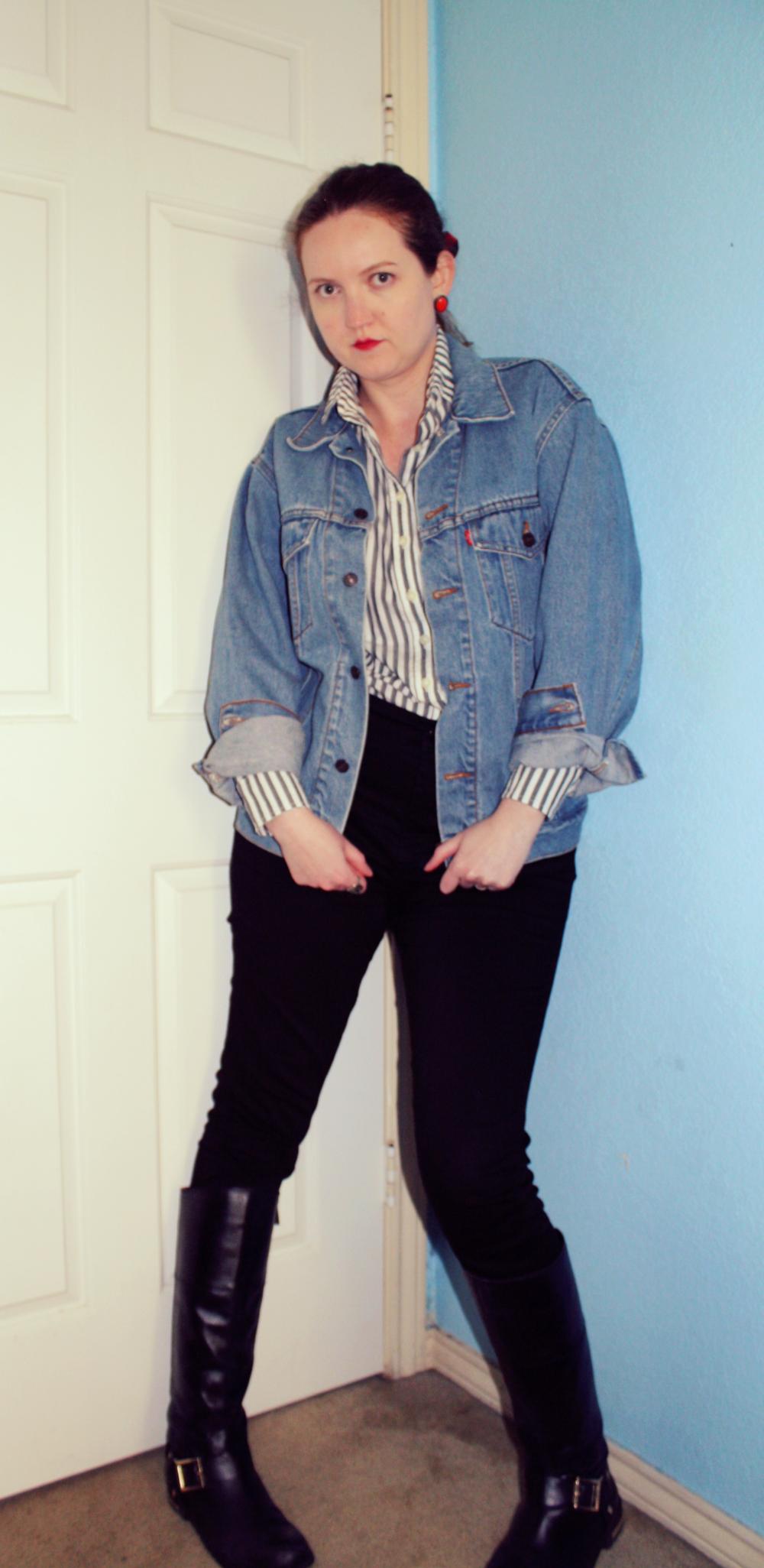 Vintage Levi's Denim Jacket + Tradlands Striped Button Down Shirt + Madewell Black Skinny Jeans + Vince Camuto Boots