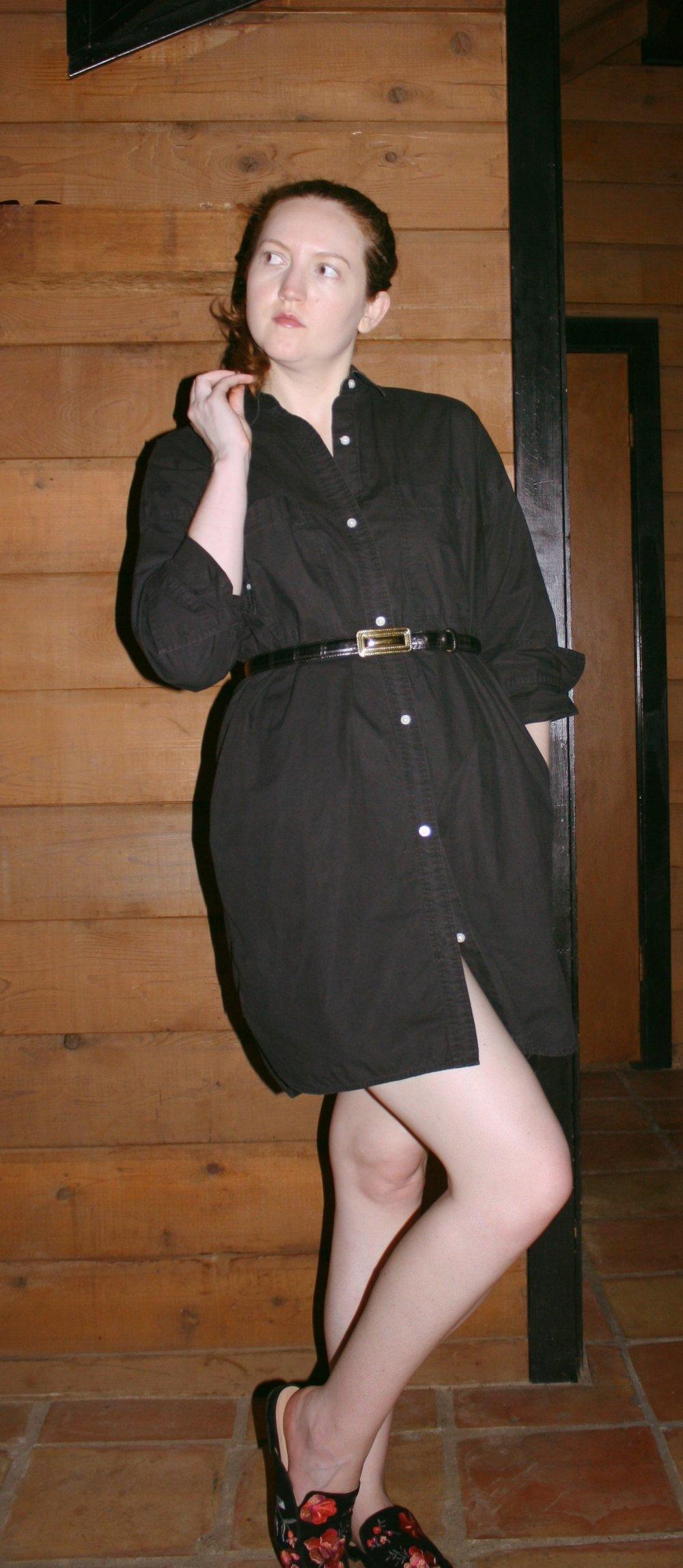 Everlane cotton two pocket shirt dress in Black + Floral Mules + Vintage Black Belt