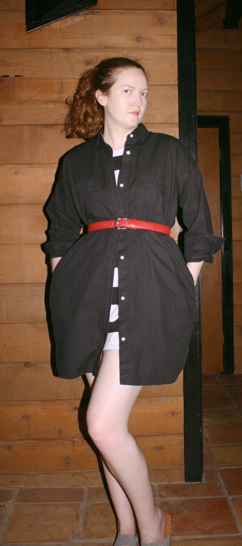 Everlane cotton two pocket shirt dress in Black + Everlane striped tee dress + Vintage Red belt + Slides