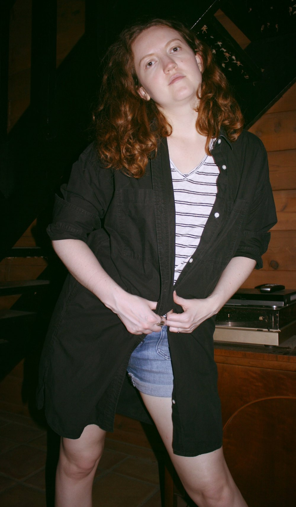 Everlane cotton two pocket shirt dress in Black + LOFT Striped Linen Tee + Madewell Shorts