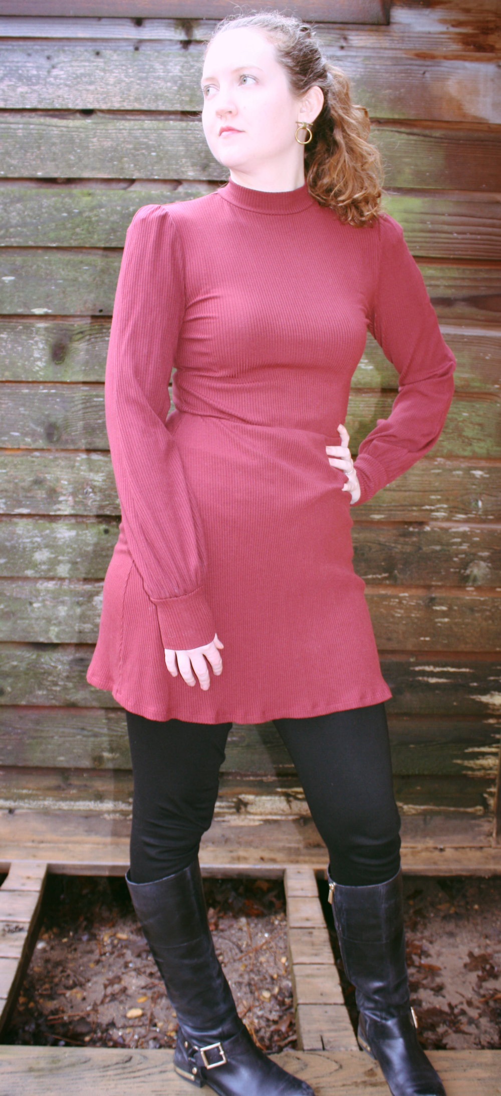 Reformation Dress + Vince Camuto Leggings + Vince Camuto Boots