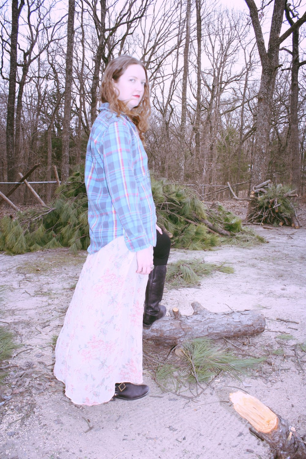Mad for Plaid Winter Plaid Outfits Vintage Green Plaid Button Down Reformation maxi dress Vince Camuto Boots.JPG
