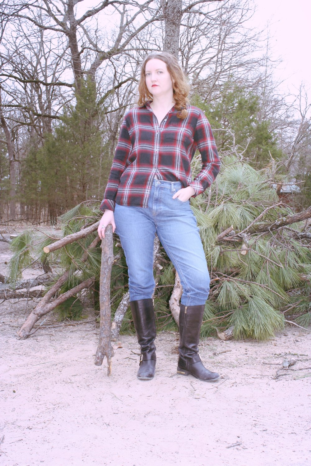 Mad for Plaid Winter Plaid Outfits Madewell Plaid Button Down Everlane Denim Vince Camuto Boots.JPG