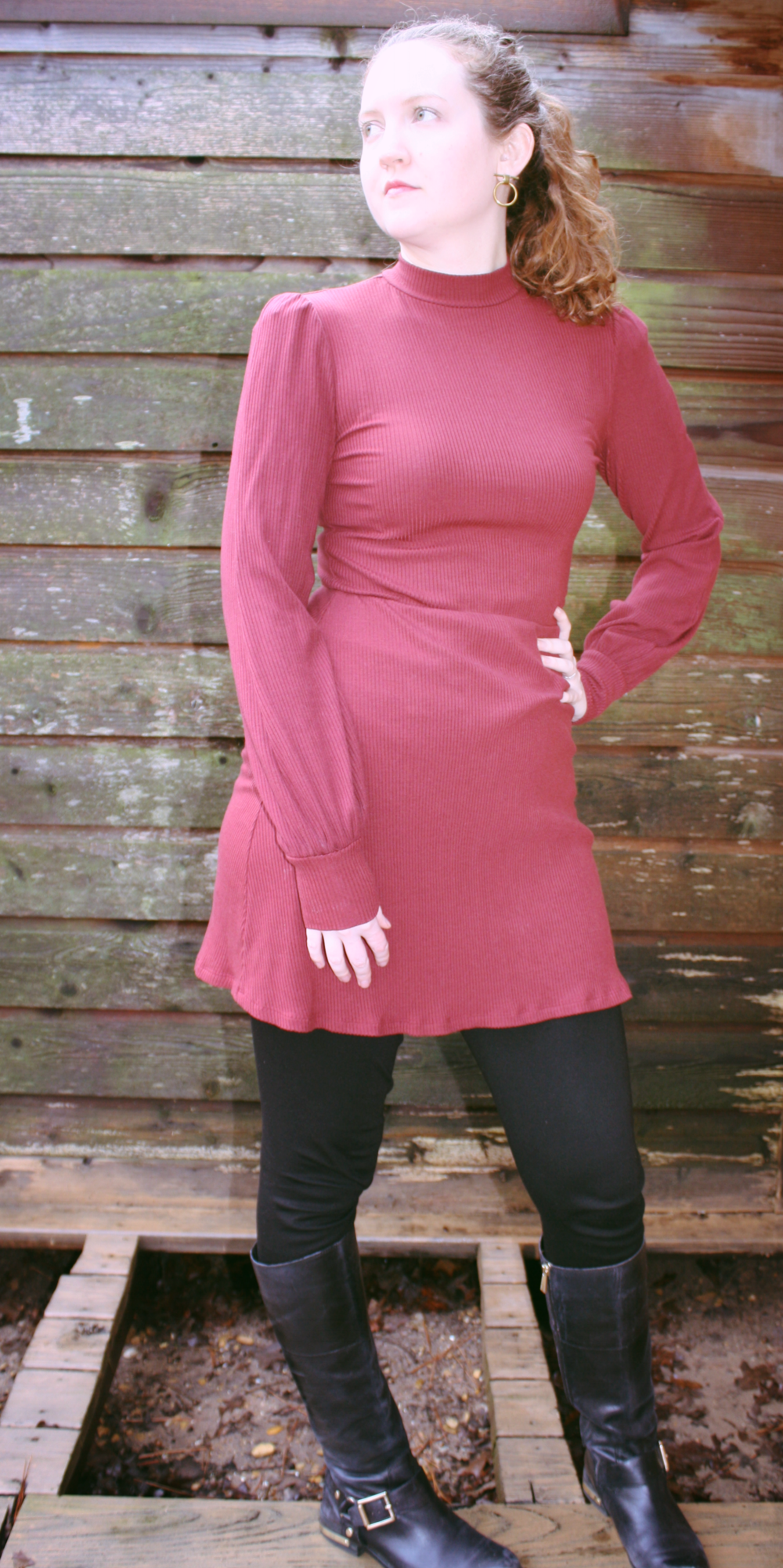Dresses and trenches for rainy days Reformation dress Vince Camuto boots Soko earrings.png