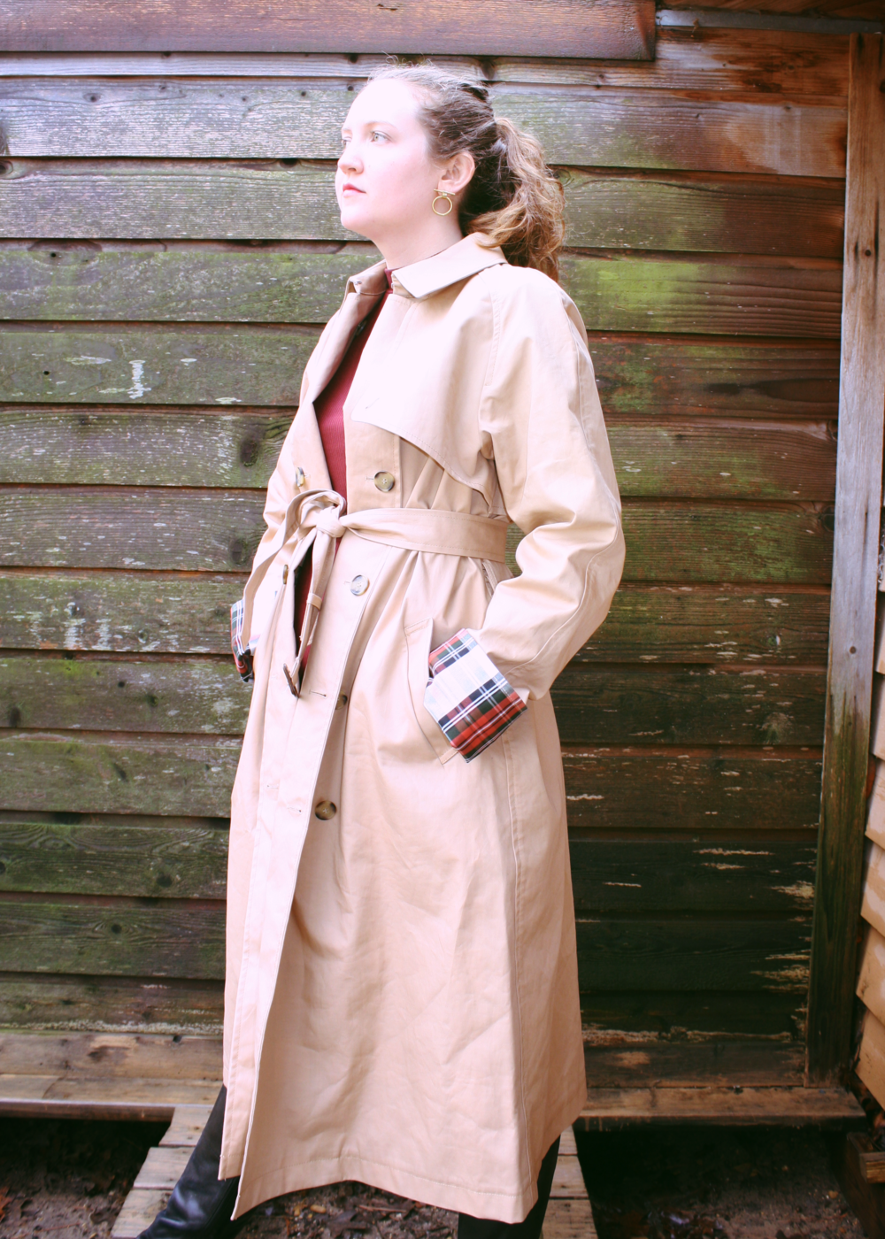 Reformation Burgundy Dress + Vince Camuto Boots + J.W. Anderson & Uniqlo Trench