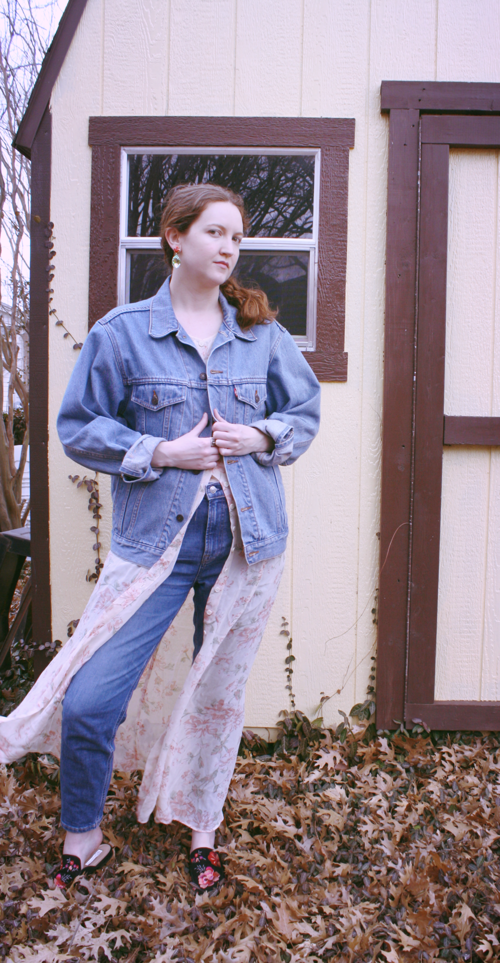 Vintage Levi's Denim Jacket + Reformation Floral Maxi Dress + Everlane Denim + Anna Sui X INC Floral Mules + Roxanne Assoulin Hip Hop But Not Earrings
