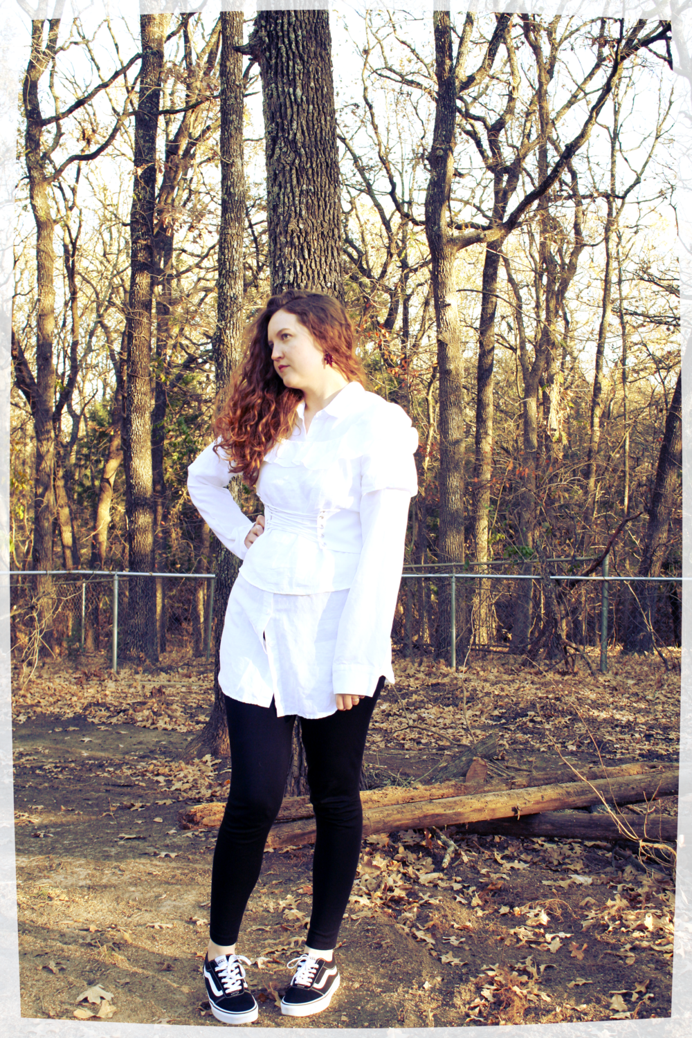 Reformation White Button Down + White Corset Belt + Reformation White Ruffle Top + Madwell Black Skinny Jeans + Vans