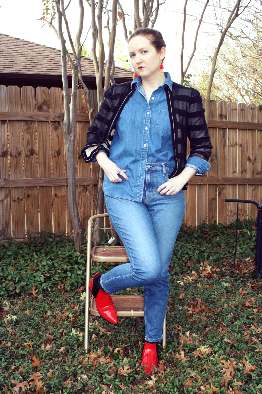 Grana denim shirt + Everlane denim + Marc Jacobs striped sweater + J Crew red tassel earrings + Red Dolce Vita boots