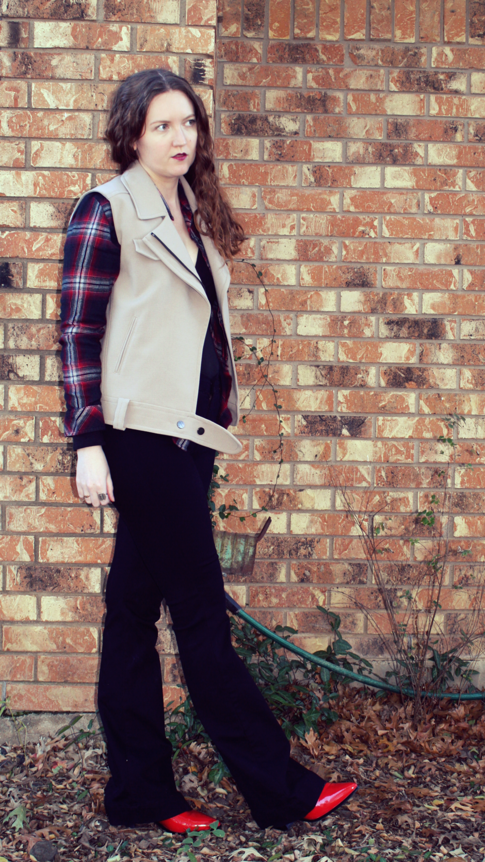 Madewell Plaid top + Topshop vest + James Jeans black flares + Madewell wrap body suit + Red Dolce Vita boots