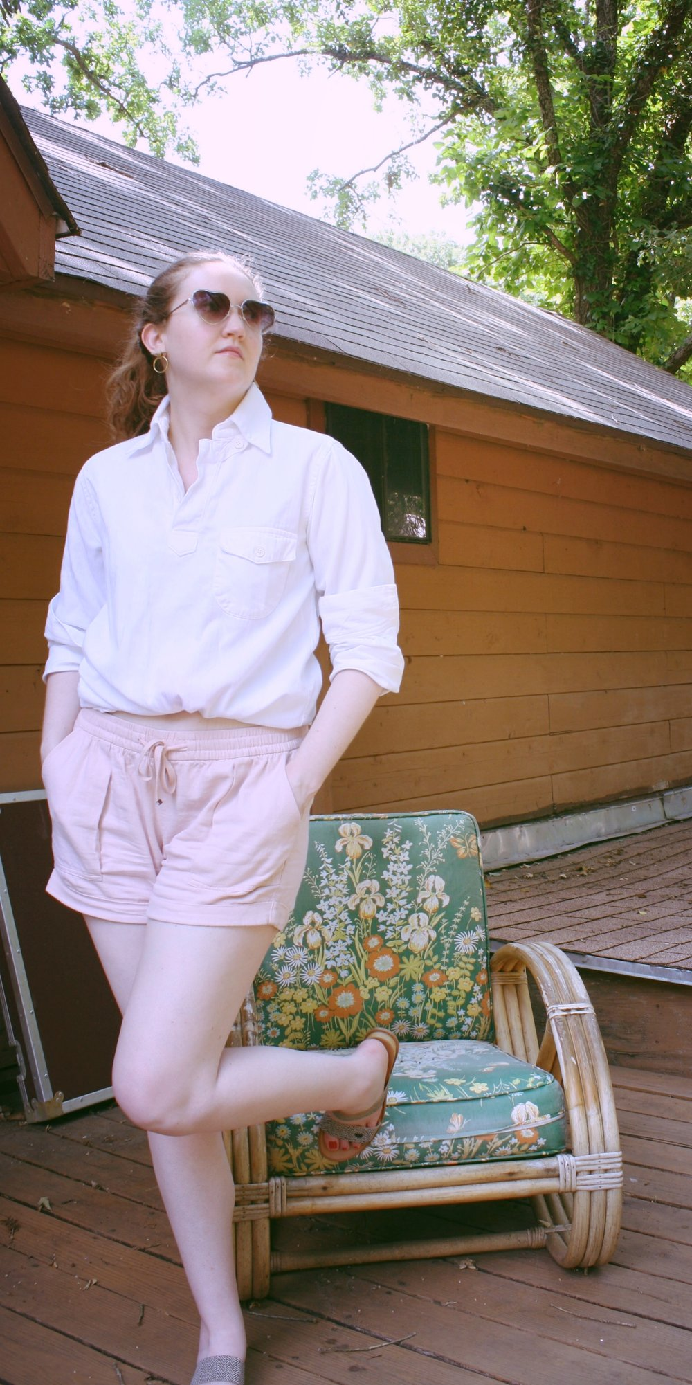White Reformation Button Down + Pink Shorts + Dolce Vita Slides + Soko Earrings