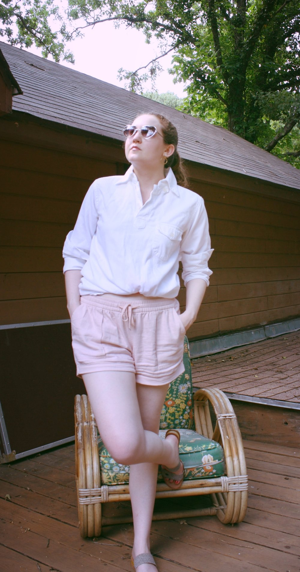 White button down outfits for spring or summer Reformation white button down pink shorts Dolce Vita Slides Soko Earrings.JPG