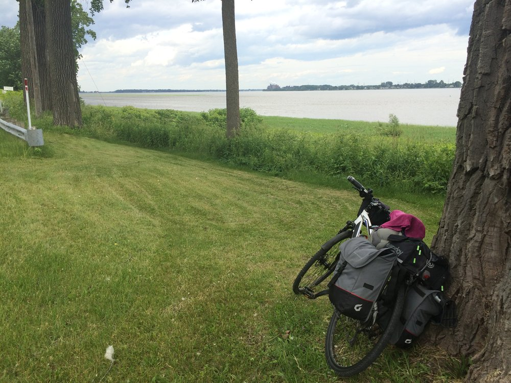 Still biking along the St. Lawrence - biking makes you appreciate distances so much more, this river really is enormous.