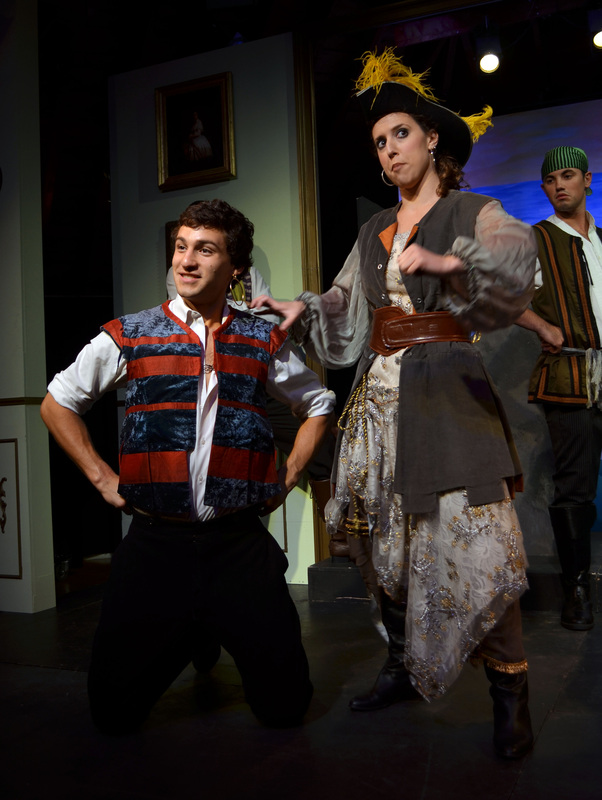 Ruth ( The Pirates of Penzance ) with Daniel Lopez (L) & Scott Frost (R). (Credit: Robert Stone)