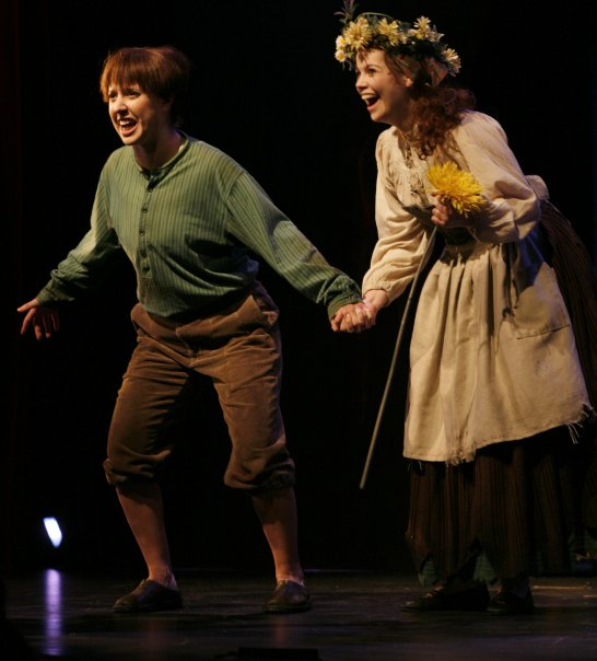 Hansel ( Hansel and Gretel ) at Boston Lyric Opera-Opera New England, with Allison Leaheey as Gretel (Credit: Paul Lyden)